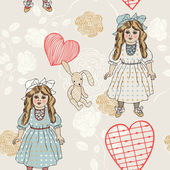 Retro style vector seamless fabric, pattern, wallpaper, wrapping and background with vintage toys - beautiful doll, rabbit, flower, heart and leaf for decoration and design — Stock Vector