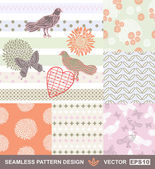 Retro style vector seamless fabric, pattern, wallpaper, wrapping and background set with bird, butterfly, flower, heart and geometric ornaments - summer theme for decoration and design — Stock Vector