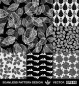 Abstract backgrounds set, monochrome vector wallpapers, black and white seamless patterns, fabrics and wrappings with graphic flowers, leafs, and geometric damask ornaments -summer, spring and autumn — Stock Vector