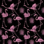 Abstrakta fåglar bakgrund, mode seamless mönster, monokrom vektor tapeter, vintage tyg, kreativ svart, rosa omslag med grafisk flamingor ornament - sommaren och våren tema för design — Stockvektor