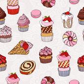 抽象背景、 蛋糕无缝模式、 复古矢量壁纸、 复古面料多彩环绕图形香甜的月饼和鲜花的装饰和设计 — 图库矢量图片
