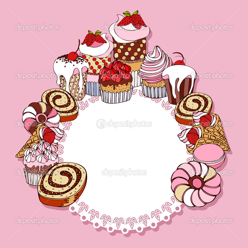 Retro Card Background With Cakes Vintage Frame