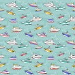 Abstract sea background, colorful fashion seamless pattern, blue vector wallpaper, creative retro fabric, fantasy wrapping - summer, maritime theme for design - Stock vektor