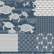 Abstract ocean backgrounds set, sea and beach theme, fashion retro seamless pattern, monochrome vector wallpaper, beautiful vintage fabric, blue wrapping; turtle, fish geometric ornaments for design — Vecteur