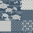 Abstract ocean backgrounds set, sea and beach theme, fashion retro seamless pattern, monochrome vector wallpaper, beautiful vintage fabric, blue wrapping; turtle, fish geometric ornaments for design — ストックベクタ