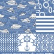 Abstract sea backgrounds set, monochrome fashion seamless patterns, blue vector wallpapers, creative retro fabrics, fantasy wrappings - summer, maritime theme for design — Stock Vector #11960377