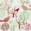 Abstract birds background, fashion seamless pattern, retro vector wallpaper, vintage fabric, creative pastel wrapping with graphic birds and trees ornaments - summer, autumn, spring theme for design — Stock Vector