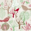 Abstract birds background, fashion seamless pattern, retro vector wallpaper, vintage fabric, creative pastel wrapping with graphic birds and trees ornaments - summer, autumn, spring theme for design — Stock Vector #11960427