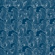 Abstract sea background, wave theme fashion seamless pattern, monochrome vector wallpaper, creative vintage fabric, fantasy blue wrapping with wave ornaments - summer, maritime theme for design — Stock Vector