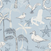 Abstract sea background, beach theme fashion seamless pattern, beautiful exotic vector wallpaper, vintage fabric, blue wrapping with seagull and palm ornaments - summer, maritime theme for design — Stock Vector