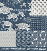 Abstract ocean backgrounds set, sea and beach theme, fashion retro seamless pattern, monochrome vector wallpaper, beautiful vintage fabric, blue wrapping; turtle, fish geometric ornaments for design — Stok Vektör