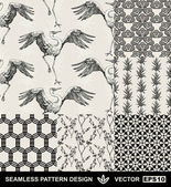 Abstract backgrounds set, fashion seamless patterns, vector wallpapers, vintage and monochrome fabrics with dancing stork, graphic birds, flowers, leafs and geometric ornaments, Japan style for design — ストックベクタ