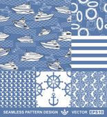 Abstract sea backgrounds set, monochrome fashion seamless patterns, blue vector wallpapers, creative retro fabrics, fantasy wrappings - summer, maritime theme for design — Stock Vector