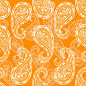 Abstract paisley background, fashion seamless pattern, monochrome vector wallpaper, Indian style orange, white fabric, vintage wrapping with graphic paisley ornaments -summer, spring theme for design — Stock Vector