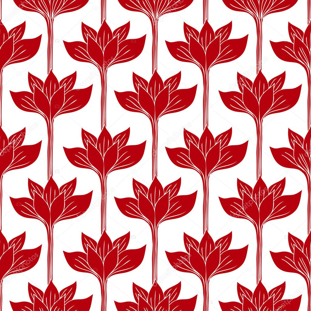 AbAbstract Background With Red Flowers, Fashion Seamless Pattern ...