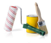 Farby pędzlem i farbą rolki — Zdjęcie stockowe