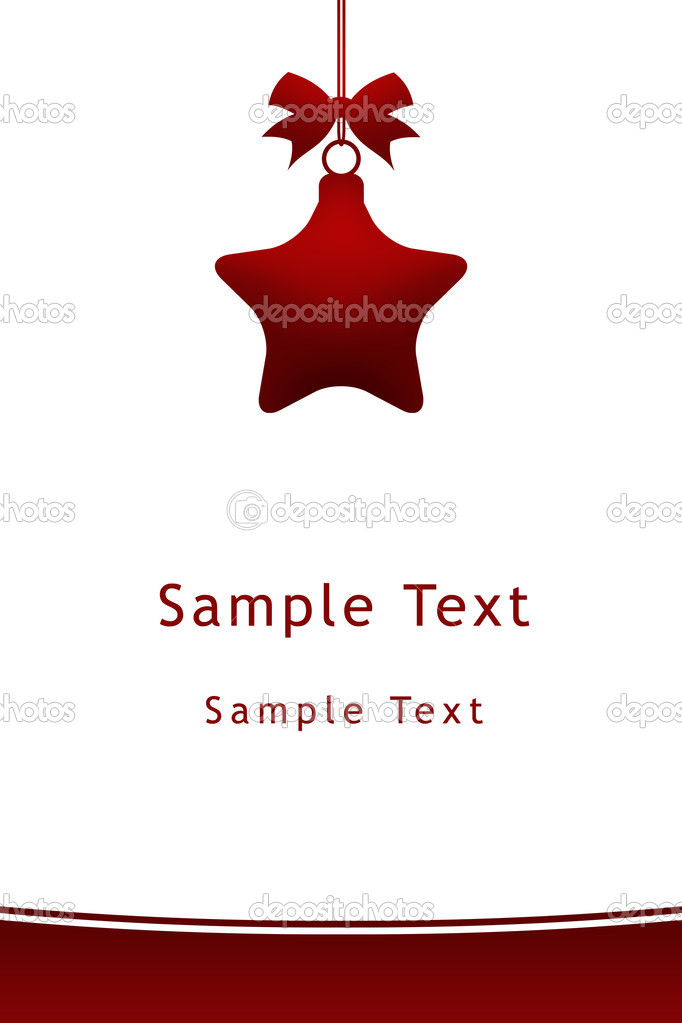 Red christmas star hanging with ribbon on white background — ストック写真 #11983099