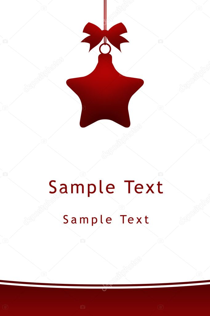 Red christmas star hanging with ribbon on white background — Photo #11983099