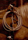 A lasso hanging on a western saddle — Stock Photo