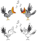 Singing crows — Stock Vector