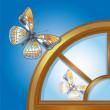 Butterfly reflected in arched window — Stock Vector