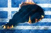 Burning Flag of Greece — Stock Photo