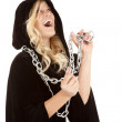 Woman cloak chain laughing — Stock Photo