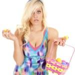 Woman easter egg open — Stock Photo