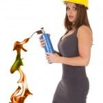 Woman hard hat torch — Stock Photo
