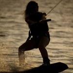 Woman on his wake board — Stock Photo