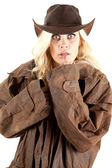 Cowgirl duster looking — Stock Photo