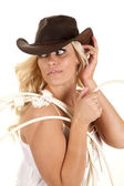 Cowgirl rope look back — Stock Photo