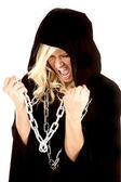 Woman cloak chain screaming — Stock Photo