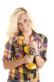 Woman drill happy — Stock Photo