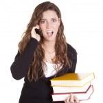 Business woman books phone shocked — Stock Photo