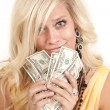 Greed woman hundreds — Stock Photo