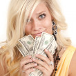 Stock Photo: Greed woman hundreds
