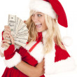 Mrs Santa money very happy — Stock Photo