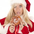 Mrs santa doughnut caught — Stock Photo