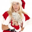 Mrs santa money caught — Stock Photo