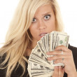 Woman black dress money shock — Stock Photo