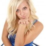 Woman blue dress lust kiss — Stock Photo