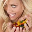 Woman caught with candy — Stock Photo