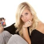 Woman phone envy — Stock Photo