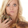 Woman shocked donut — Stock Photo #11955501