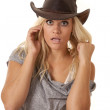 Woman startled hat — Stock Photo