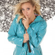 Woman wind umbrella shhh — Stock Photo #11956206
