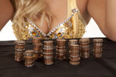 Coins and woman — Stock Photo