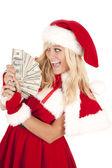 Mrs Santa money very happy — Stock Photo