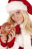 ミセス サンタ ドーナツにやにや笑い — ストック写真